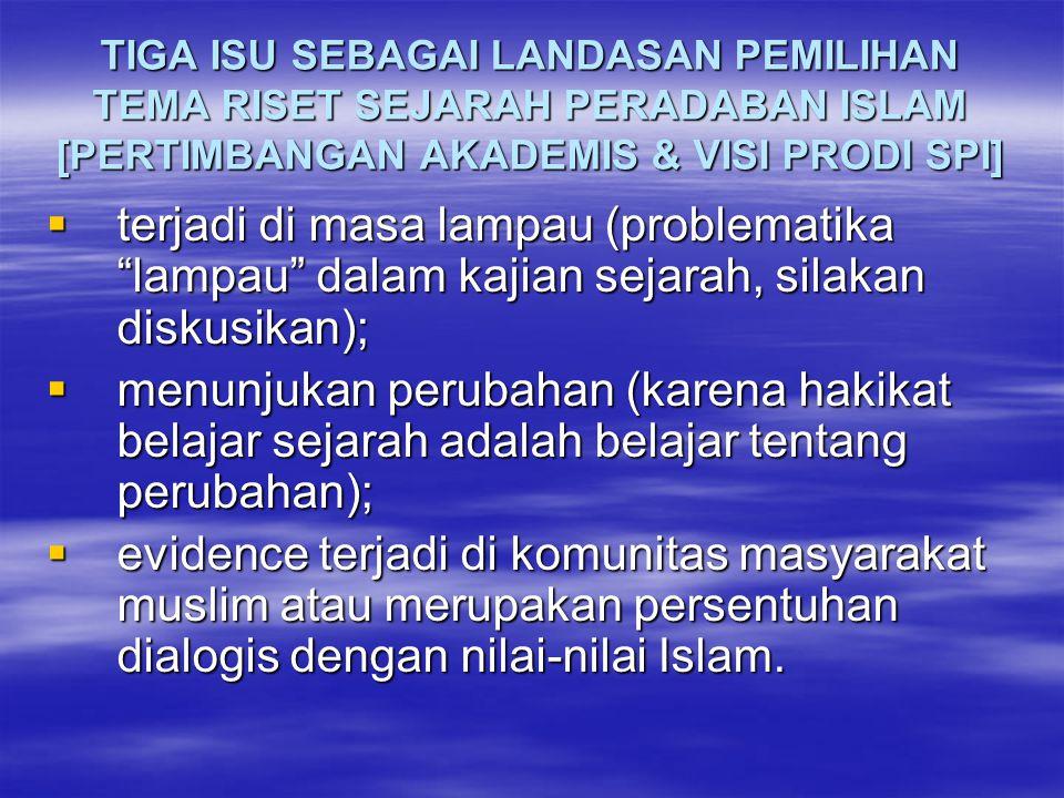 TIGA ISU SEBAGAI LANDASAN PEMILIHAN TEMA RISET SEJARAH PERADABAN ISLAM [PERTIMBANGAN AKADEMIS & VISI PRODI SPI]